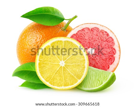 Isolated citrus fruits. Pieces of lemon, lime, pink grapefruit and orange isolated on white background, with clipping path #309665618