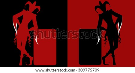 Isolated red and black jokers