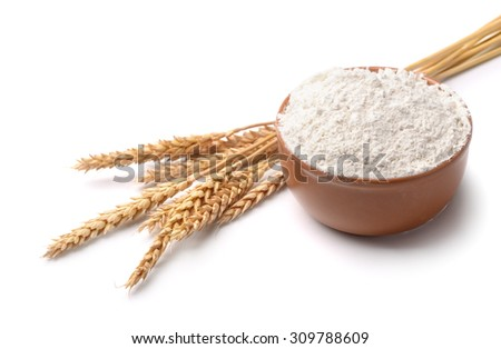 Wheat flour and wheat ears isolated on white #309788609