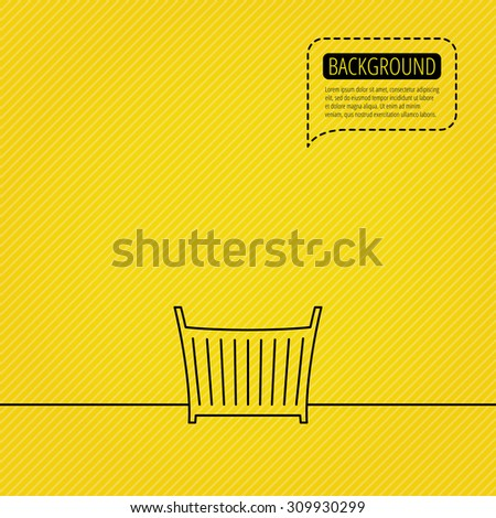 Baby crib bed icon. Child cradle sign. Newborn sleeping cot symbol. Speech bubble of dotted line. Orange background. Vector #309930299