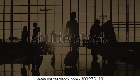 Back Lit Business People Traveling Airport Passenger Concept #309975119