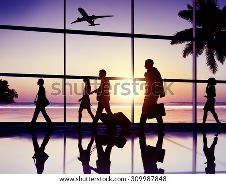Back Lit Business People Traveling Airplane Airport Concept #309987848