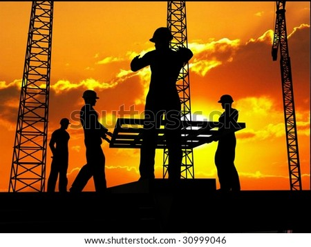 Group of the workers on a background of the sky #30999046