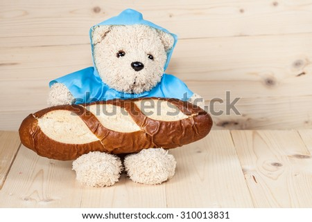 toy bear is having breakfast #310013831
