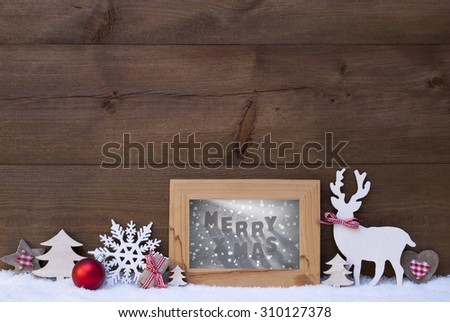 Christmas Decoration With Reindeer Christmas Trees Snowflake Red Ball On Snow. Picture Frame With English Text Merry Xmas. Christmas Card For Seasons Greetings. Wooden Background