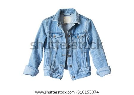 Blue denim jacket isolated over white Royalty-Free Stock Photo #310155074