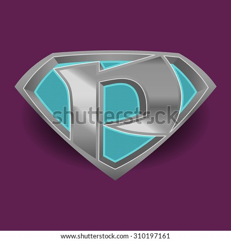 A fully editable vector illustration the letter p as a super hero logo.