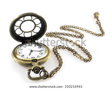 A classic pocket watch (Vintage pocket watch clock with open lid and chain isolated on a white background)  #310216961