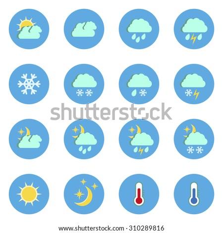 Set of flat weather icons isolated on white background.Raster copy. #310289816