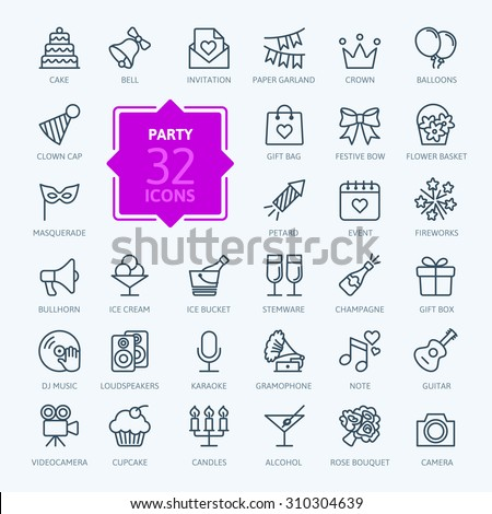 Outline web icon set - Party, Birthday, Holidays Royalty-Free Stock Photo #310304639