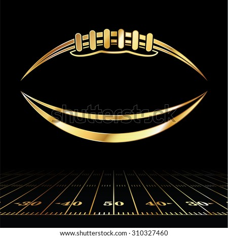 An icon of a gold colored American football over a football field illustration. Vector EPS 10. Room for copy.