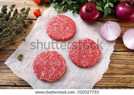 top view  Raw meat. burger steak rustic background #310327733