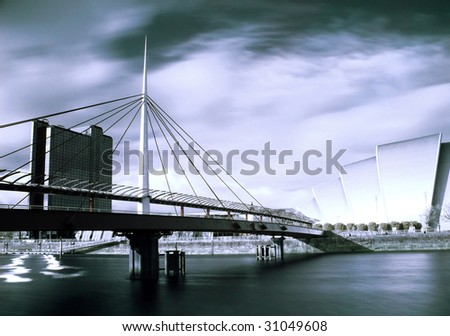 Infrared picture of the Bell bridge and Armadillo SECC on the Clyde river in Glasgow