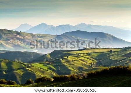 Beautiful andean highland landscape view from Nono, Ecuador #310510628