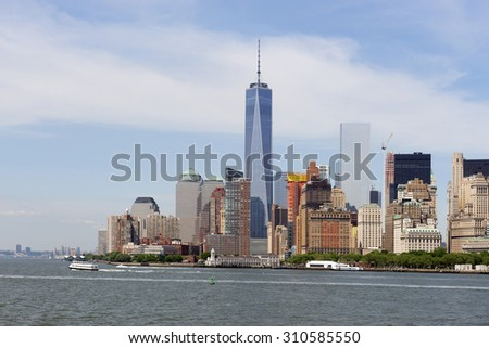 Lower Manhattan, New York skyline with Freedom Tower and Hudson River at June 2015