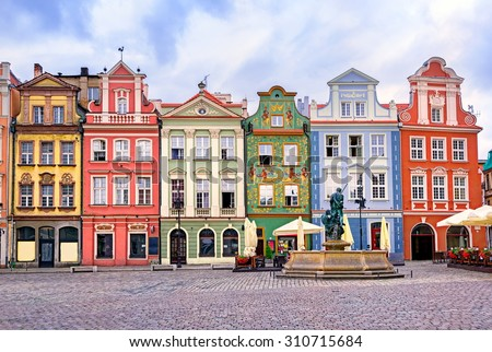 Colorful renaissance facades on the central market square in Poznan, Poland Royalty-Free Stock Photo #310715684