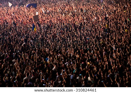 CLUJ-NAPOCA, ROMANIA - AUGUST 3, 2015: Crowd having fun during a live concert at Untold Festival in the European Youth Capital city #310824461