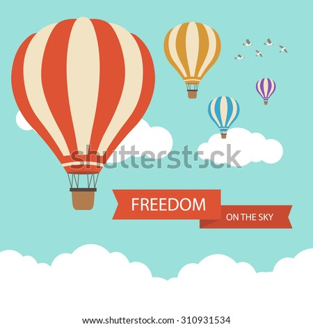 Flat design, Hot air balloon in the sky with cloud background Royalty-Free Stock Photo #310931534