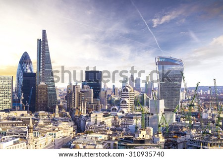 London sunset, view on business modern district.