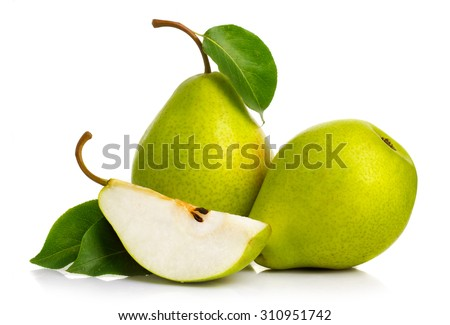 Ripe green pears isolated with leaves isolated on white #310951742
