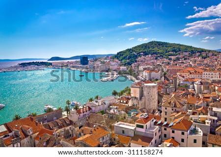Split waterfront and Marjan hill aerial view, Dalmatia, Croatia Royalty-Free Stock Photo #311158274