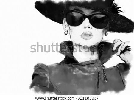 Fashion woman's face. Abstract print for T-shirt