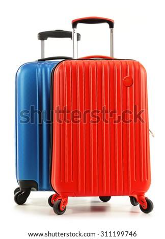 Travel suitcases isolated on white background. #311199746