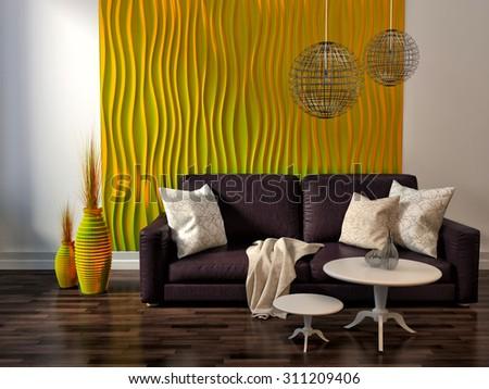interior with sofa. 3d illustration #311209406