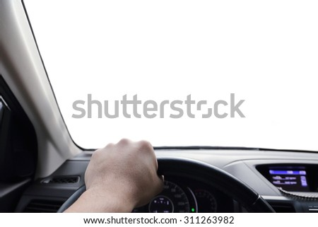 hand driving a car with isolated window #311263982