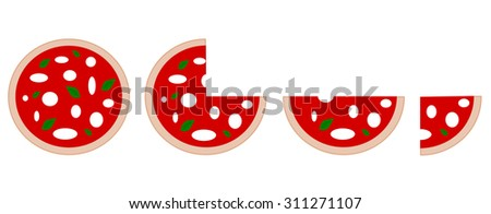 italian pizza with slice vector set illustration #311271107