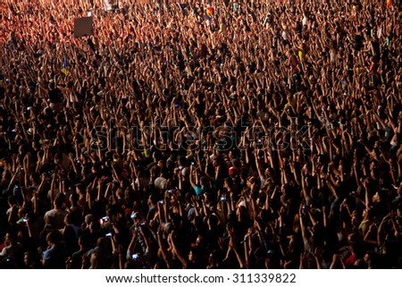 CLUJ-NAPOCA, ROMANIA - AUGUST 3, 2015: Crowd having fun during a live concert at Untold Festival in the European Youth Capital city #311339822