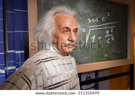 BANGKOK, THAILAND - CIRCA August, 2015: Wax figure of the famous scientist, Albert Einstein from Madame Tussauds, Siam Discovery, Bangkok #311350499
