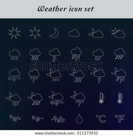minimalistic outline drawing Weather forecast icon set with day and night icons with dark blue night sky background #311373932