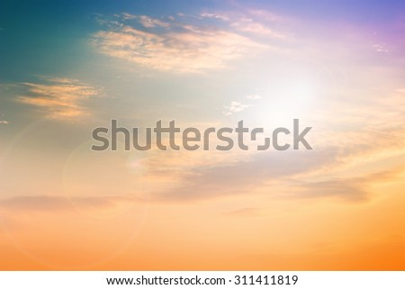 Pastel natural abstract blurred sky background create light soft colors and bright sunshine a short time before sunset. #311411819