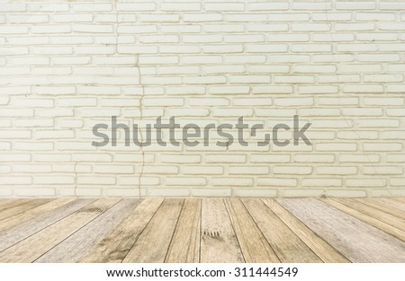 perspective white wood plank floor or walk way with Brick wall white color background for art interiors design in home #311444549