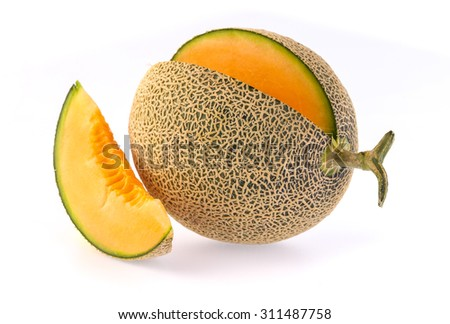 Fresh and ripe Cantaloupe isolated on white background #311487758