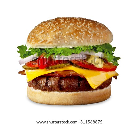 The perfect hamburger with cheese, bacon, pickles, tomato, onions and lettuce.