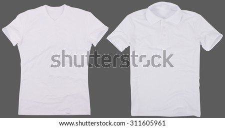 Set of male shirts. Isolated on a gray background. #311605961