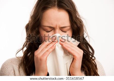 Asian caucasian woman with flu corona virus covid-19 coronavirus outbreak Royalty-Free Stock Photo #311618567