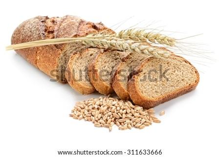 fresh sliced bread  and wheat on white #311633666