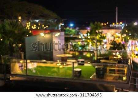 Night blur garden on roof with light bokeh #311704895