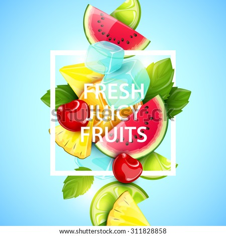 Vector colorful background with fruits and berries. #311828858