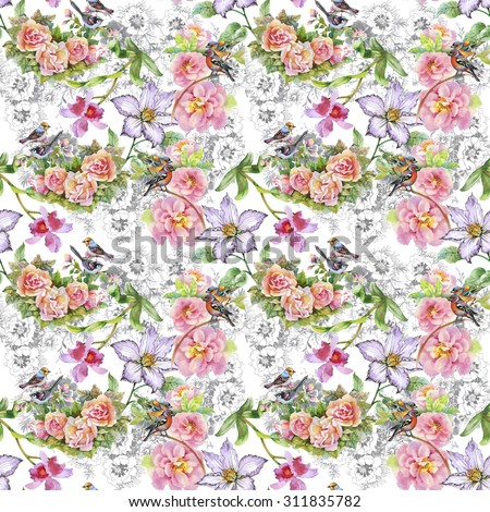 Seamless floral pattern on white background with watercolor summer meadow blooming flowers, roses, orchid and birds #311835782