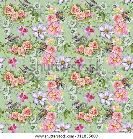 Seamless floral pattern on green background with watercolor summer meadow blooming flowers, roses, orchid and birds #311835809