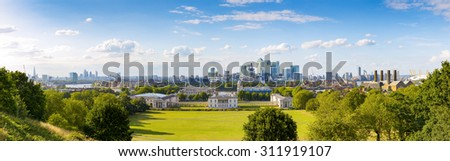 Panorama Cityscape View from Greenwich, London, England, UK #311919107