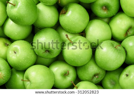 Green apple Raw fruit and vegetable backgrounds overhead perspective, part of a set collection of healthy organic fresh produce #312052823