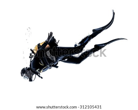 one caucasian scuba diver diving man  in studio  silhouette isolated on white background Royalty-Free Stock Photo #312105431
