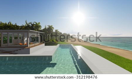 Pool and houses by the ocean. 3D render #312198476