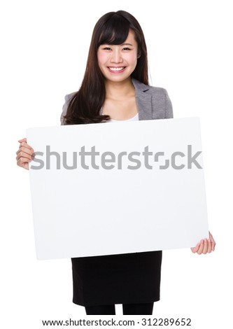 Young businesswoman show with white board #312289652