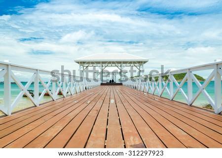 wooden bridge pier in Koh Sri Chang. Chonburi, Thailand #312297923